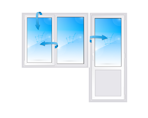 Балконный блок с двухстворчатым окном (одна створка открывается, вторая глухая)