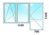 Балконный блок - Окно одна створка поворотно откидная, вторая глухая