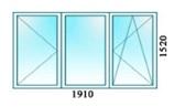 Окно трехстворчатое одна створка поворотно откидная, вторая поворотная, третья глухая 1910х1520