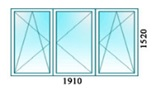 Окно трехстворчатое две створки поворотные одна поворотно откидная  1910х1520